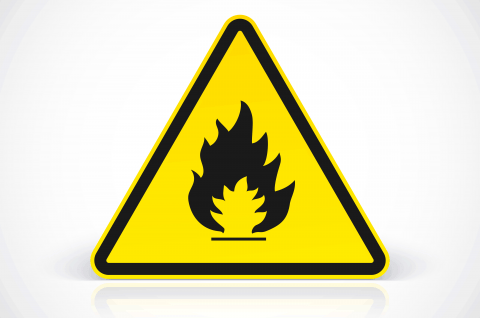 Flammable substance sign in yellow