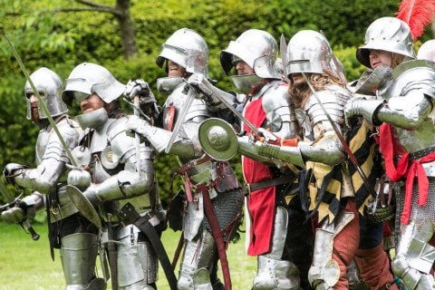 Men dressed as knights at the even at Arundel Castle
