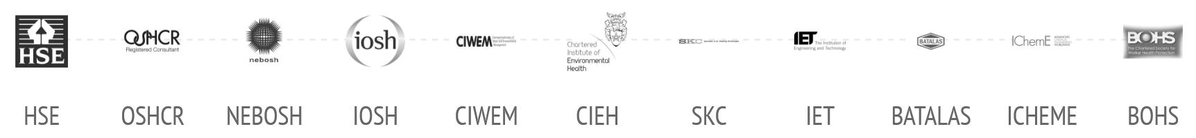 Certification Logos: HSE, OSHCR, NEBOSH, IOSH, CIWEM, CIEH, SKC, IET, BATALAS, ICHEME, BOHS